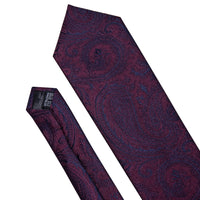 Barry.Wang Classic Designers Purple Paisley Mens Ties 8.5cm Silk Tie Hanky Box Set Gifts For Men Wedding Groom Neckties LS-5160