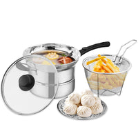 Multifunctional Soup Small frying Steaming Pot Large Stainless Steel Chip Pan with Fryer Basket and Lid 41*21.5*20cm