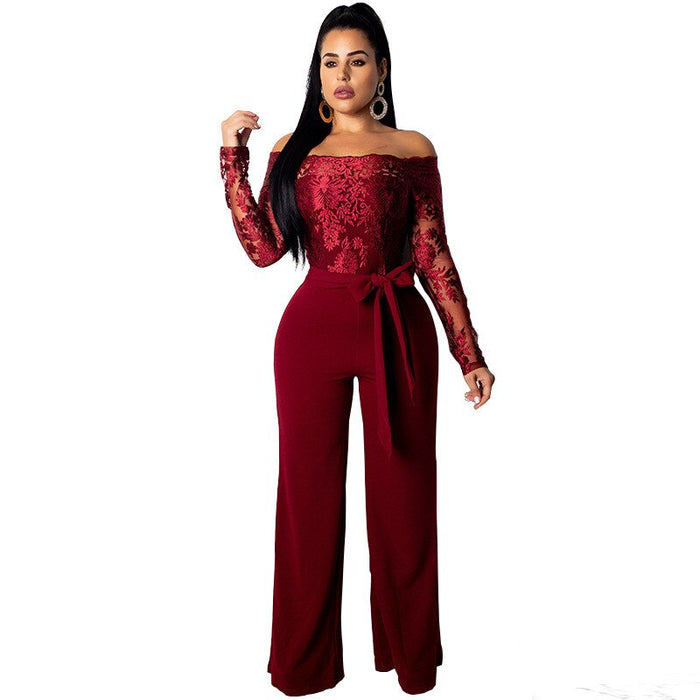 Elegant Off Shoulder Floral Lace Jumpsuit Women Sexy Sheer Long Sleeve Black Wide Leg Jumpsuit