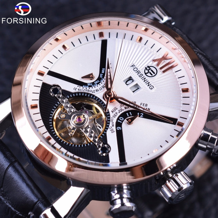 Forsining Classic Tourbillion Design Calendar Genuine Leather Strap Mens Watches Top Brand