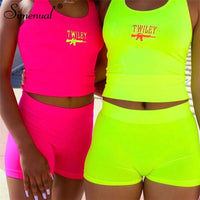 Simenual Letter Embroidery 2 Piece Set Women Casual Neon Color Tracksuits Summer Streetwear Crop Top And Shorts Sets Fashion Hot
