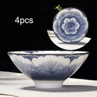 4pcs/set Blue and white porcelain tea Cup,Hand-painted Cone Teacup,Chinese style pattern