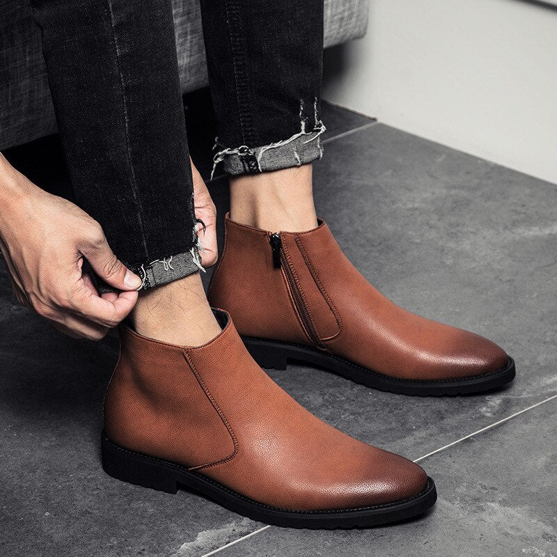 mens soft leather ankle boots
