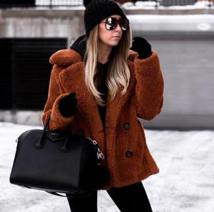 2019 Winter Thick Warm Teddy Coat Woman Lapel Long Sleeve Fluffy Hairy Fake Fur Jackets Female Button Pockets Plus Size Overcoat