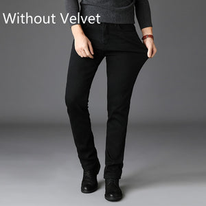 2020 New Trousers Grey Fleece Men Clothes  Black Elasticity Warm Thinker Winter Jeans Busines With Or No Velvet 2 Model Jeans