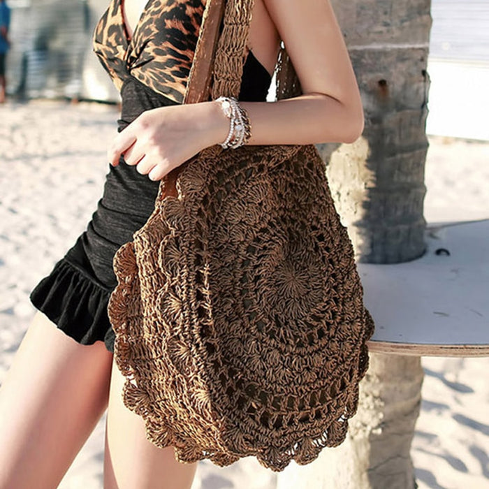 Sun Flower Beach Tote Bag Soft Paper Rope Crochet Round Straw Bag Boho Retro Foldable
