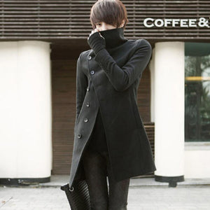 Winter men korean style slim fit trench coat long jacket men punk hip hop overcoat gothic nightclub wool coat stage clothes