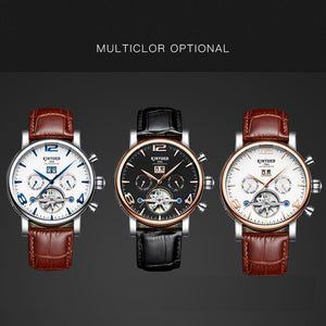 KINYUED Skeleton Tourbillon Mens Watch Mechanical Automatic Men Watches Business Perpetual Calendar Sports Army erkek kol saati