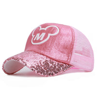 Baby Girls Hats Sequins Ear Girl Snapback Baseball Cap With Ears  Hip Hop Boy Pink Ear Caps Kids Funny Hat For Spring Summer