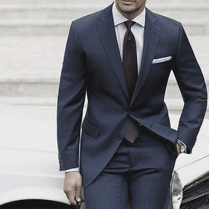 Wedding Suits For Men 2019 Custom Made Mens Suits With Pants  Blue Grey Tailored Suit Costume Homme Mariage Luxe Terno Slim
