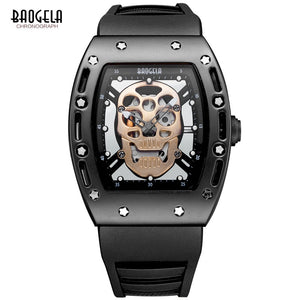 Baogela Fashion Mens Skeleton Skull Luminous Quartz Watches Military Style Black Silicone Rectangle