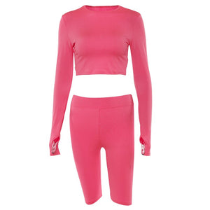 Fluorescent Women Workout Sport Clothes 2 Pieces Fitness Set Long Sleeve Active Wear Sloid