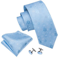 Men`s Tie Blue Floral For Wedding Neck Ties Silk Jacquard Woven Gravata Necktie Hanky Cufflinks