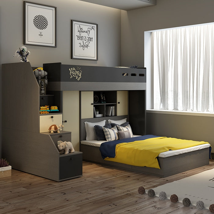 Nordic multi-functional mother bed modern minimalist high box wardrobe bed under the bed bunk