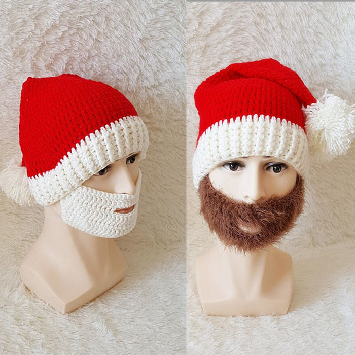 Knitted Christmas Caps Crochet Wacky Beard Hats Warm Handmade Cap Winter Face Masks Unisex