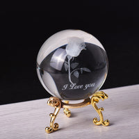 6cm Crystal Ball 3D Laser Rose Figurines Feng Shui Glass Ball Metal base Craft Home Decoration
