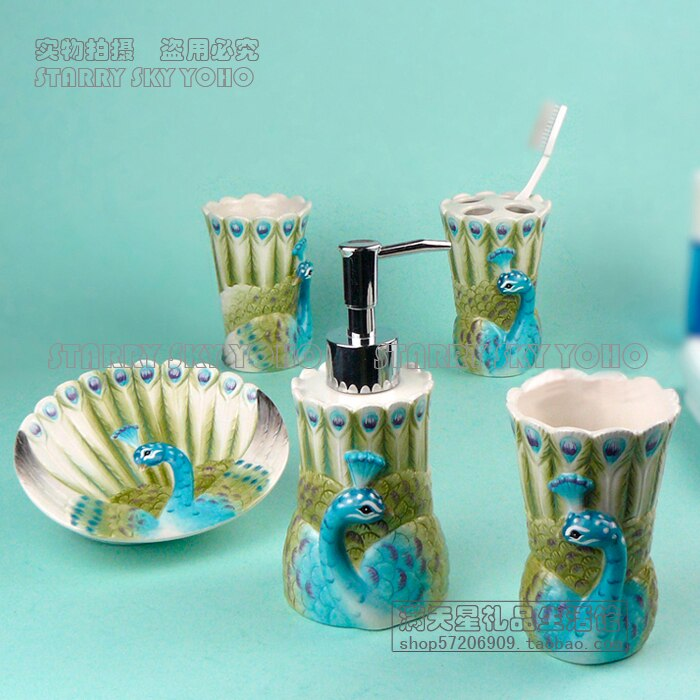 ceramic peacock toothbrush holder soap dish bathroom accessories set kit cup wedding gifts