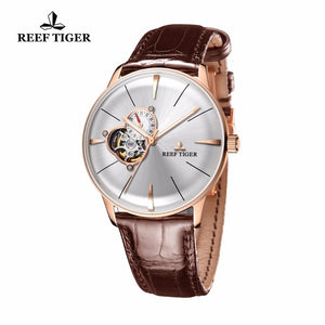 2019 Reef Tiger/RT Luxury Casual Watches for Men Rose Gold Tourbillon Convex Lens Watches Genuine Leather Strap RGA8239