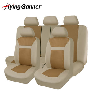 11 Pcs Polyster Material Full Car Seat Covers Set Universal Fit Most Classic Automobiles Seat Cover Beige/Grey/Black Color