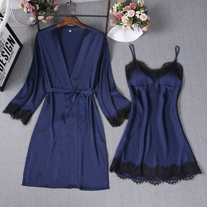 Navy Blue Sexy Sleep Robe Kimono Sleepwear Sets Womens 2pcs Strap Top Suit Casual Spring Home Wear Pajamas Nightwear Bath Gown