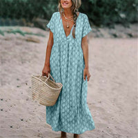 New Womens Boho Deep V Neck Polka Dots Floral Print Fashion Baggy Tunic Long Pleated Dress Loose Kaftan Beach Holiday Sundress