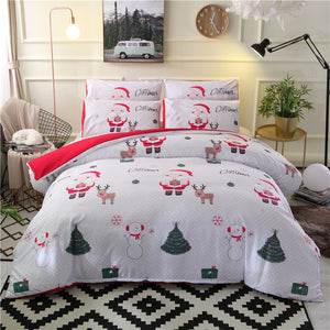 Christmas Bedding Sets 2/3pcs Cartoon Duvet Cover Set Santa Claus Single/Queen/King Size Bed linen Bedclothes