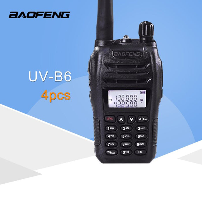 (4 PCS)Black BaoFeng Protable Radio UV-B6 Dual Band UHF VHF