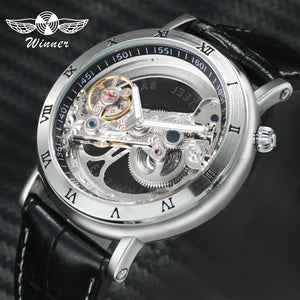 Top Brand WINNER Watch Men Auto Mechanical Golden Bridge Wrist Watches for Man Luxury Genuine Leather Strap Dress Male Clock