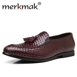 Merkmak Handmade Brand Tassel Shoes Men Casual Leather Dress Loafers Woven Oxfords Moccasins Italian Wedding Flat Shoes