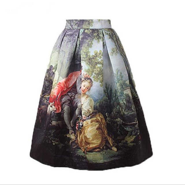 Women Vintage Elastic Waist Skirt Knee Length Retro Oil Painting Skirts Girl High Waist Pleated