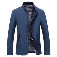 Spring Summer Thin Varsity Jacket Men Fashion Stand Collar Business Jackets Coat Pockets