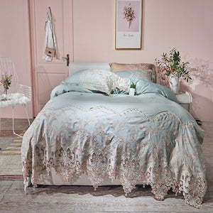 Lace Egyptian cotton Queen King size Bedding Set Blue Pink Gold Bed set Fitted Bed sheet Duvet