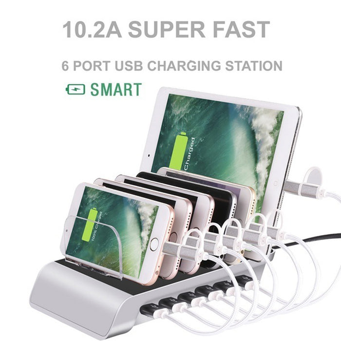 Multi Port Fast Charging USB Phone Charger 4/6 Ports Station Dock Stand Holder