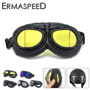 Motorcycle Glasses Retro Vintage Moto Helmet PU Leather Steampunk Goggles Motorbike 100% UV400  Scooter ATV Dirt Biker Glasses