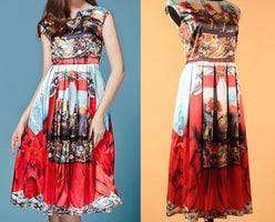 S - XXL Sicilian Style Restoring Ancient Ways Samurai Printed Women Dress The New Spring/summer 2019 Runway Looks Fashion