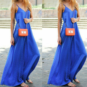 New Women Fashion Sleeveless Blue Jumpsuit Romper Ladies Summer Beach Casual Solid Color Casual Loose V Neck Jumpsuits