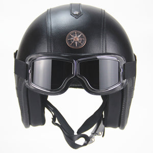 PU half Leather  moto Helmets 3/4 Motorcycle Chopper Bike helmet open face vintage motorcycle helmet with goggle