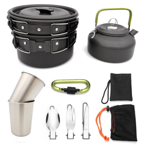Camping Equipment Outdoor Cookware Set Cooking Carabiner Travel Tableware Cutlery Utensils Hiking Picnic Set Camping Cookware