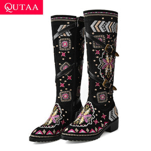 QUTAA 2020 Winter Thick Heel Buckle Decoration Knee High Boots Cow Leather Vintage Embroidered Women High Boots Boots Size 34-43