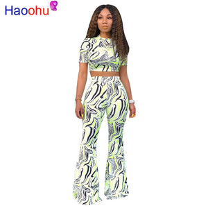 HAOOHU Zebra Print Two Piece Set Summer Clothes for Women Sexy Crop Top and Wide Leg Pants Suit 2 Pice Outfits Matching Sets