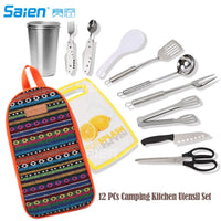 12 PCs Camping Kitchen Utensil Set, Camp Cookware Utensils Organizer Travel Kit