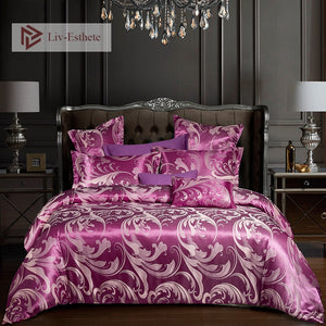 Liv-Esthete Luxury Bedding Set Euro Jacquard Purple Double Queen King Duvet Cover Flat Sheet Decorative Home Textiles Bed Linen