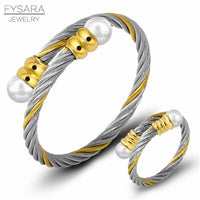 FYSARA Cable Wire Jewelry Set Fashion Stainless Steel Bracelet Bangle Women Shell Pearl