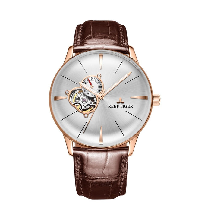 Luxury Casual Watches for Men Rose Gold Tourbillon Convex Lens Watches Genuine Leather
