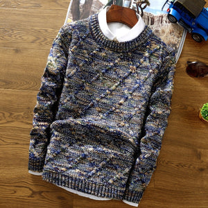 O-Neck Sweater Men 2018 fashion Pullover Sweater Male Slim Fit Knitting Sweaters Mens Colorful Rhombus Lattice Pullover Men