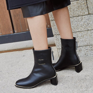 ZVQ brand leather women's shoes winter plush High quality classic 5cm heels ankle boots fashion