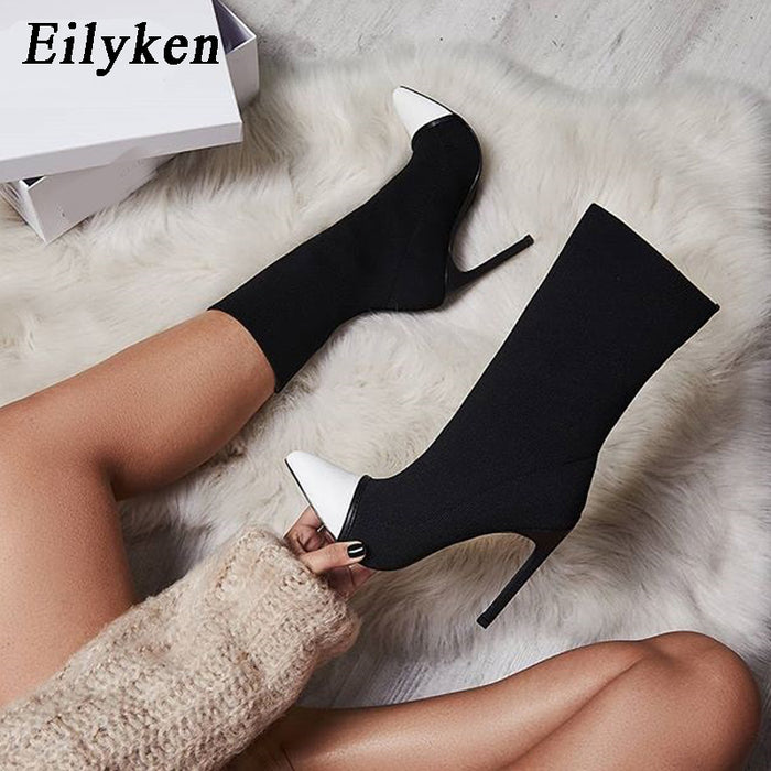 Eilyken 2020 New Arriva Stretch Fabric Women Ankle Boots Pointed Toe High Heels Slip-On Sexy2
