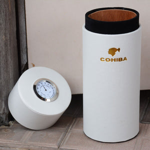 COHIBA Leather Cigar Case Cedar Wood Lined Tube Portable Jar Travel Mini Humidor Inside with Long Humidifier Hygrometer