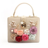 New Luxury fashion flower pearl lock buckle pu leather box shape ladies handbag party totes shoulder bag crossbody messenger bag