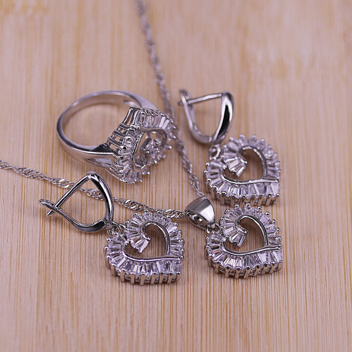 Trendy 925 Sterling Silver Jewelry Set For Women Heart CZ Stone Charm Pendants Necklaces